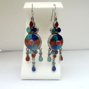Indian Round Lapis, Turquoise, Coral Danglies